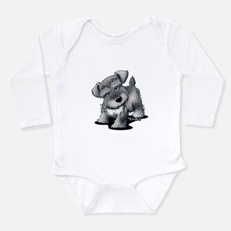 KiniArt Silver Schnauz Long Sleeve Infant Bodysuit