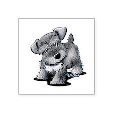 "KiniArt Silver Schnauzer Square Sticker 3"" x 3"""