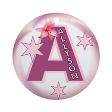 Allyson Star Initial Ornament (Round)