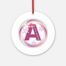 Alyssa Star Initial Ornament (Round)