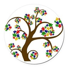Puzzled Tree of Life Round Car Magnet