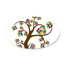 Puzzled Tree of Life Oval Car Magnet