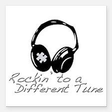 Rockin to a Different Tune Silver Square Car Magne