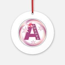Amanda Star Initial Ornament (Round)