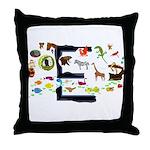E Animals Throw Pillow