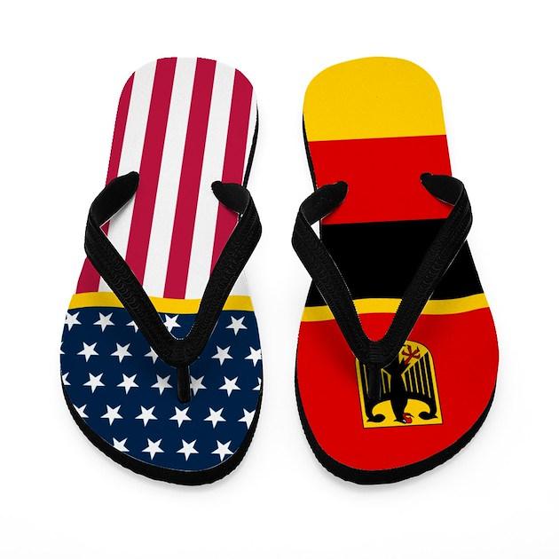 German Germany American Flag Flip Flops By Justflipflops