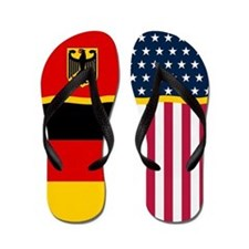 German Germany American Flag Flip Flops