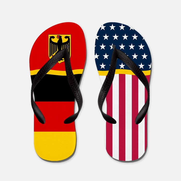 German Germany American Flag Flip Flops