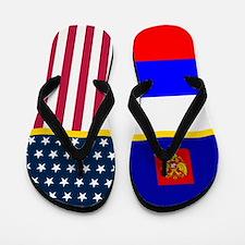 Russia Russian American Flag Flip Flops