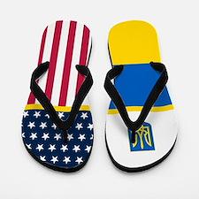 Ukraine Urkainian American Flag Flip Flops