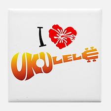 I Love Ukulele Tile Coaster