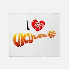 I Love Ukulele Throw Blanket