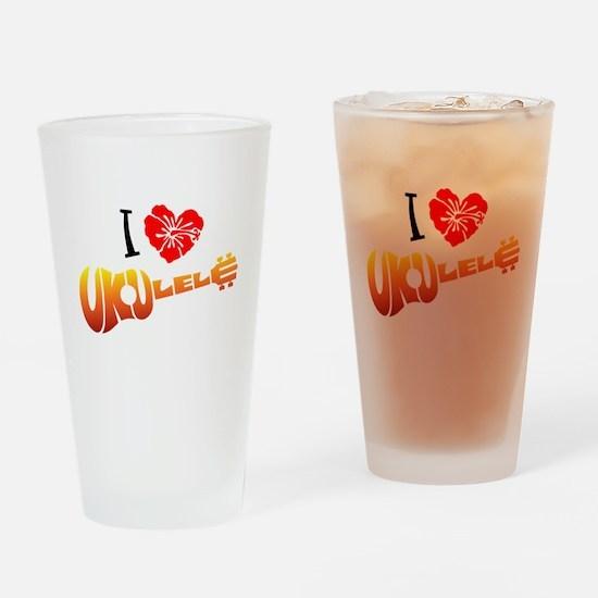 I Love Ukulele Drinking Glass