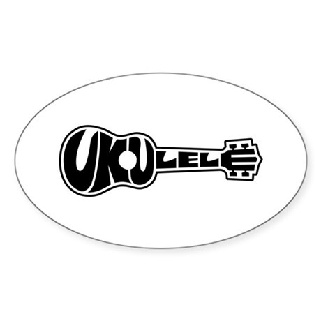 Ukulele Logo Sticker (Oval)