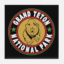 Grand Teton Black Circle Tile Coaster