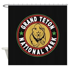 Grand Teton Black Circle Shower Curtain