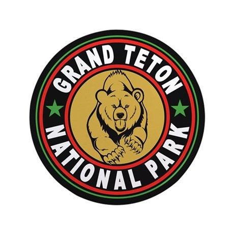 "Grand Teton Black Circle 3.5"" Button"