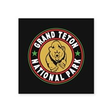 "Grand Teton Black Circle Square Sticker 3"" x 3"""