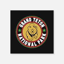 "Grand Teton Black Circle Square Sticker 3"" x 3"""