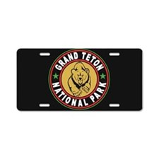 Grand Teton Black Circle Aluminum License Plate