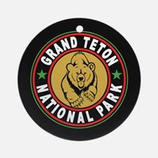 Grand Teton Black Circle Ornament (Round)