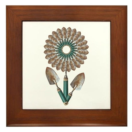 Trowel Flower Framed Tile