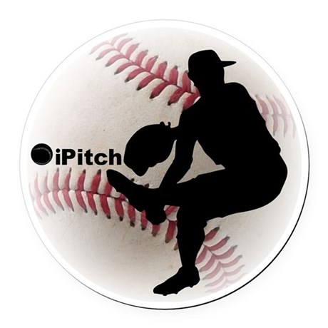 iPitch Baseball Round Car Magnet