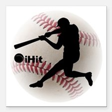"Baseball iHit Square Car Magnet 3"" x 3"""