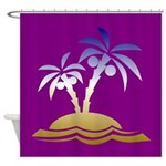 Colorful Palm Trees On A Beach Shower Curtain