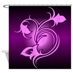 Pink and Purple Floral Design Shower Curtain