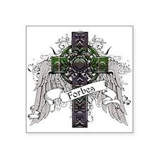 "Forbes Tartan Cross Square Sticker 3"" x 3"""