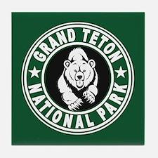 Grand Teton Green Circle Tile Coaster