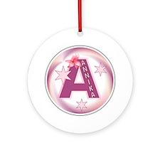 Annika Star Initial Ornament (Round)
