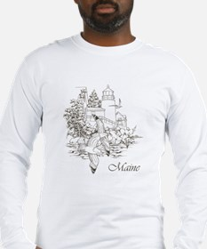 Maine Nubble Lighthouse Long Sleeve T-Shirt