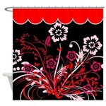 Red and White Floral Design Shower Curtain