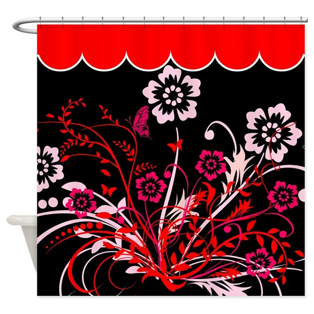 Red And White Floral Design Shower Curtain By Stolenmomentsph