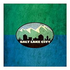 "Vintage Salt Lake City Flag Square Car Magnet 3"" x"
