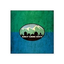 "Vintage Salt Lake City Flag Square Sticker 3"" x 3"""