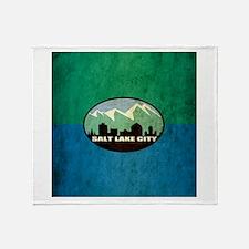 Vintage Salt Lake City Flag Throw Blanket
