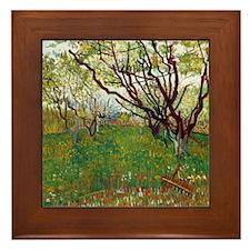 Van Gogh Cherry Tree Framed Tile