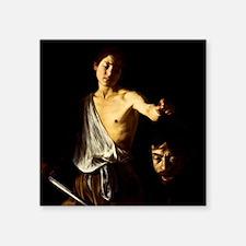 """Caravaggio David Goliath Square Sticker 3"""" x 3"""""""