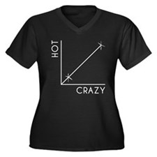 HOT vs CRAZY Women's Plus Size V-Neck Dark T-Shirt