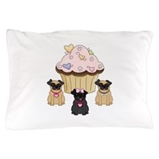 Cupcake Pug Dogs Pillow Case