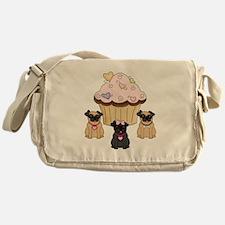 Cupcake Pug Dogs Messenger Bag