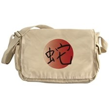 Red Circle Year of the Snake Messenger Bag