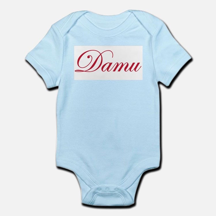 Cursive Maroon Damu Infant Creeper