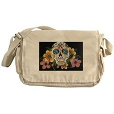 Flower Skull Messenger Bag