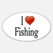 I Love Fishing Sticker (Oval)