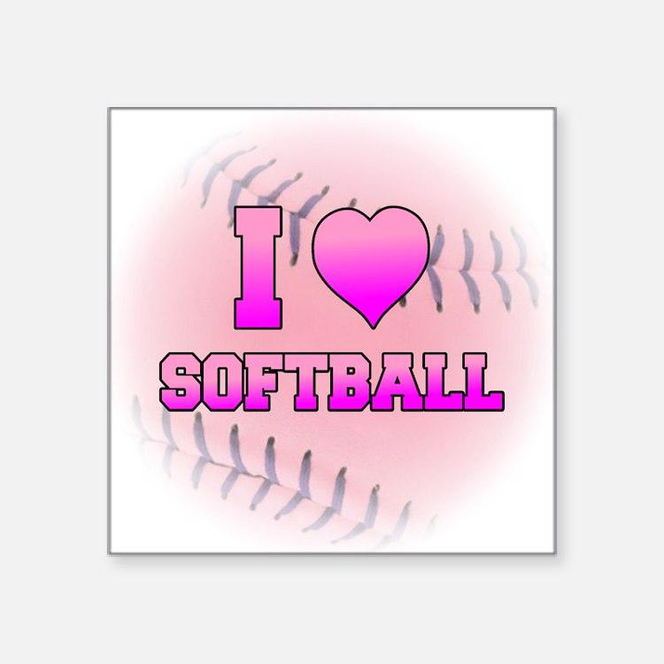 "I Heart Softball Square Sticker 3"" x 3"""