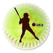iHit Fastpitch Softball Round Car Magnet